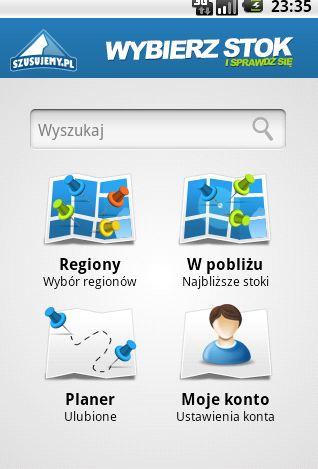 Widok wyszukiwarki stoków szusujemy.pl na Twoim telefonie