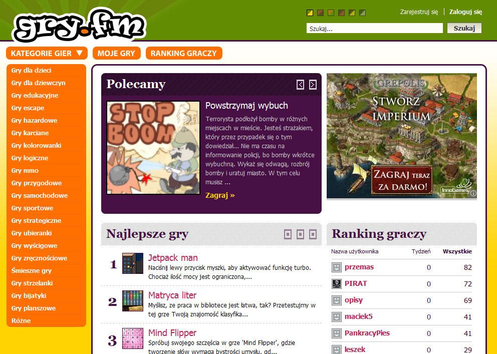 Gry.fm   nowy serwis z grami online